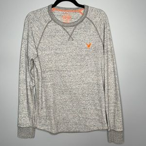 American Eagle grey embroidered logo Heritage Classic Fit Thermal waffle tee M